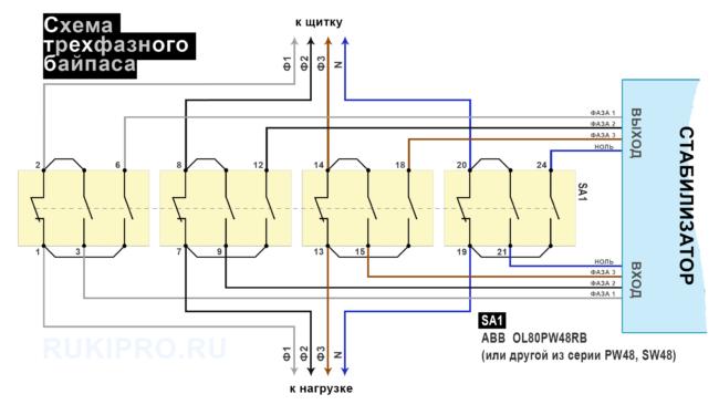 Схема байпаса для стабилизатора (3 фазы)